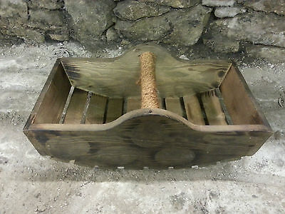 Old Vintage Wooden Picking Basket With Rope Wrapped Handle