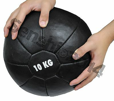 Real Leather Medicine Ball 10KG Genuine Cow Hide Leather Hand Stitched