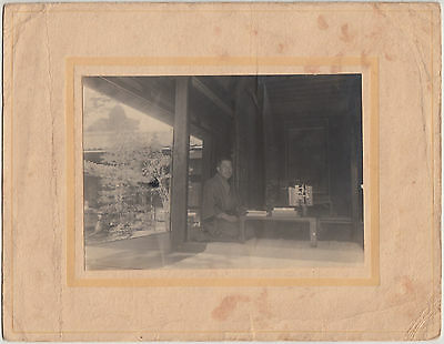 Antique Photo / Man in Kimono at Desk / Japanese / Dated 1925