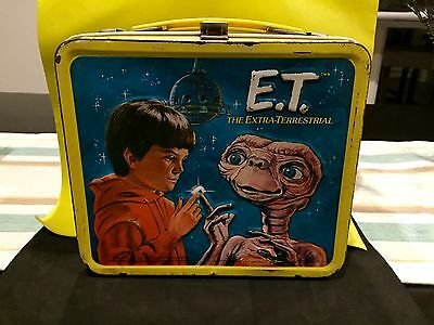 1980's 1982 VINTAGE E.T. THE EXTRA TERRESTRIAL METAL LUNCH BOX BY ALADDIN IND.