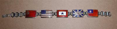 Son In Service Blue Star Allied Flags Sterling Bracelet -Ussr,us,britain,china
