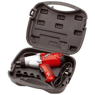"""Heavy Duty Electric Impact Wrench Clarke CEW1000 1/2"""" Drive and 4 Sockets"""