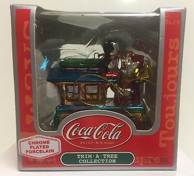 Coca Cola Trim A Tree Collection Chome Plated Porcelain Train Ornament