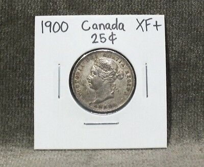 1900 Canada Silver Quarter 25 Cents XF+ C1