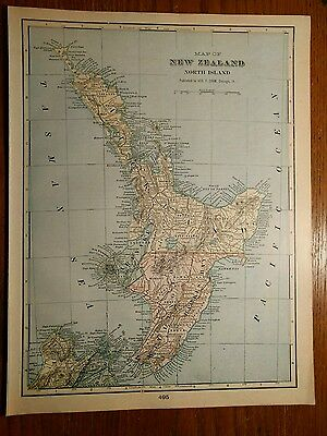 "Old NEW ZEALAND North Map 1902 Antique Original Wellington 11""x14.5"" MAPZ171"