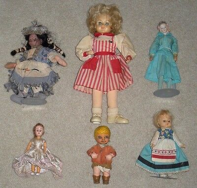 6 Vintage Collectable Dolls,Junk Draw Lot (Indian,Nurse,Etc)