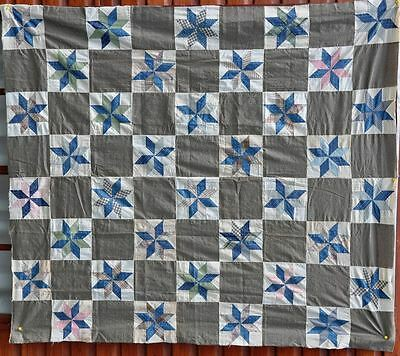 1900-20 Masculine Star Of Lemoyne Antique Vintage Quilt Top – Crispy Unused!