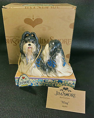 New in Box- Jim Shore Ming Shih Tzu Dog Colorful Figurine with All Tags Labels
