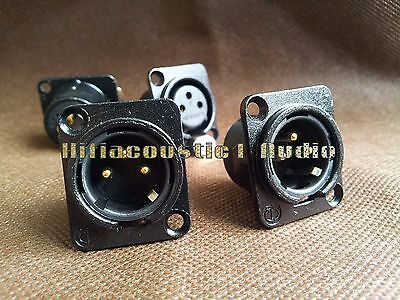 2p Gold Plated XLR Male Chassis Socket Panel Connector