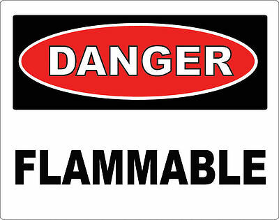 DANGER - Flammable / Vinyl Decal / Sticker / Safety Label  PIck a Size