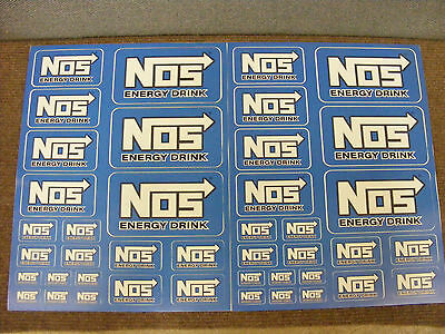 2x NOS Energy Drink decal / sticker set, 42 stickers in all