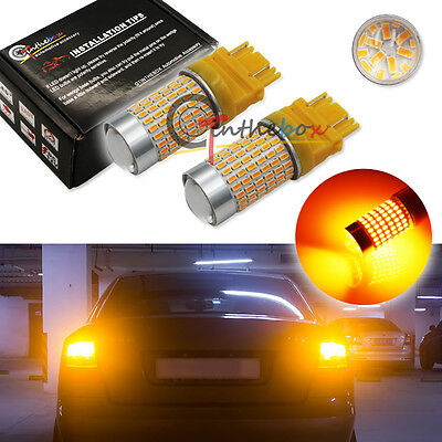 2PCS High Power Amber 3156 3157 T25 144-SMD LED Bulbs for Turn Signal Lights