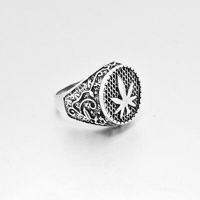 Mens Stainless Steel Silver Cannabis Leaf Band Ring Jewelry Size 8-11#