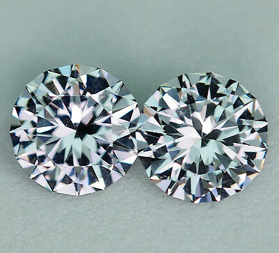 Grey Spinel - Matched Pair - 1.53 Carat - 5.50 mm Round Brilliant