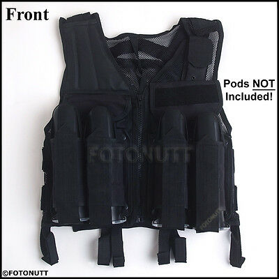 Deluxe BLACK TACTICAL VEST Paintball Harness w/ Movable Chest Pod Attachments