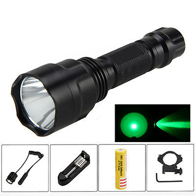 5000Lm Q5 Green LED Flashlight Torch Hunting+Light Mount+Remote Pressure Swith