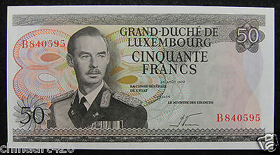 Luxembourg Paper Money 50 Francs 1972 UNC