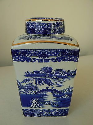 Tea Caddy 1991 by Wade - Blue & White Willow Pattern