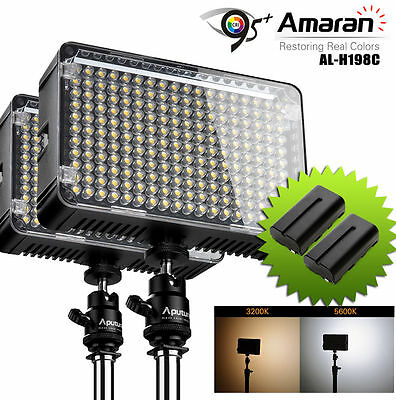 2x Aputure CRI 95+ AL-H198C LED Video Camera Light Lamp Kit + 2x NP-F550 Battery