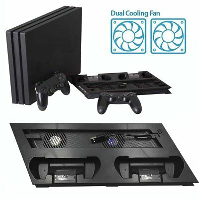 Vertical Stand Cooling Fan with Dual Charging Dock Station for PS4 Pro Console