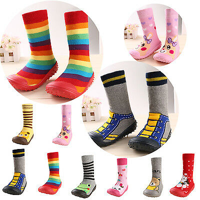 Infant Baby Toddler Girl Boy Slipper Socks Shoes Cartoon Animals Anti-slip Boots