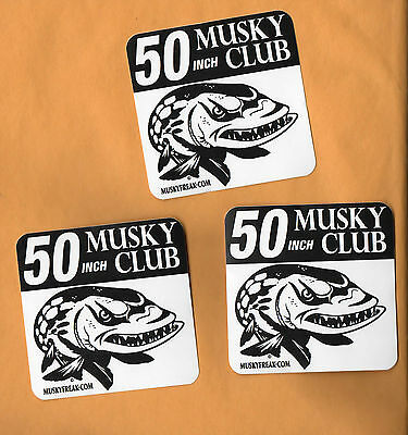 """50"""" & above Musky Club Decal - Muskie fishing Musky sticker for boat tacklebox"""