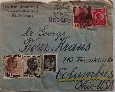 Romania 1936 Cover With Urgent Cachet & Gdynia America Line Label On Back