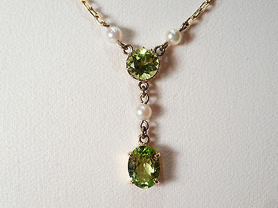 18Ct Gold Peridot Pearl Vintage Necklace