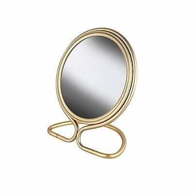 Frasco 4 Inch 7x Mag Stand Folding Travel Double Sided Mirror with Pouch Brass