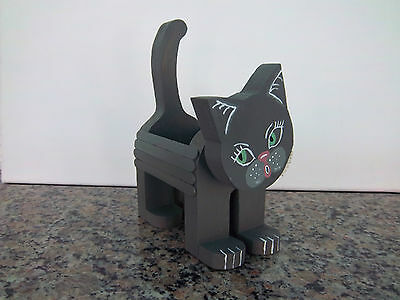 Kitty Cat Wooden Handcrafted Handmade Hand Painted Wood Box Holder Prettty Cat