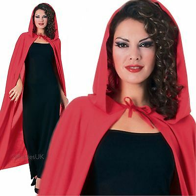 Adult Long Vampire Devil Red Riding Hood Cape Hooded Cloak Fancy Dress Costume