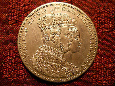 German States Prussia Thaler, 1861, Coronation of Wilhelm and Augusta