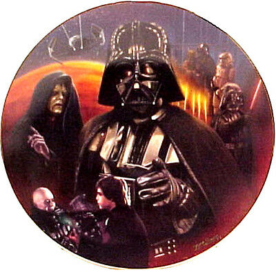 Vintage Star Wars Heroes & Villains Ceramic Collector Plate- Darth Vader Montage