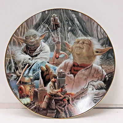 Vintage Star Wars Heroes & Villains Ceramic Collector Plate- Yoda Montage