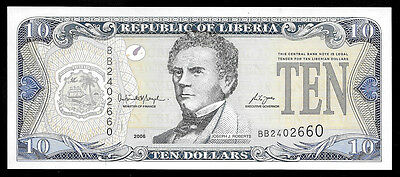World Paper Money - Liberia $10 Dollars 2006 P27 @ Crisp UNC