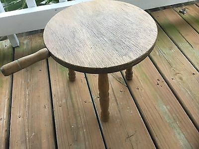 Vintage Wood Three Leg Milking Stool With Handle Made. In Hong Kong By Lobeco