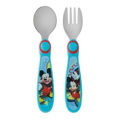 The First Years Grasp Flatware Spoon - Fork Set, Disney Mickey Mouse 1 ea