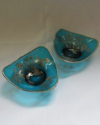 Vintage Blue Glass Bowls with Sterling Silver Overlay