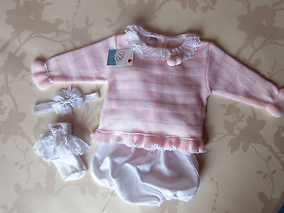 Spanish baby girls knitted top & jam pants set with socks & hairband 9-12 months