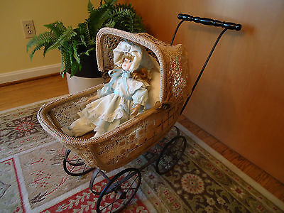 RARE CROCHET Antique Baby Doll Carriage Stroller Vintage Collectable
