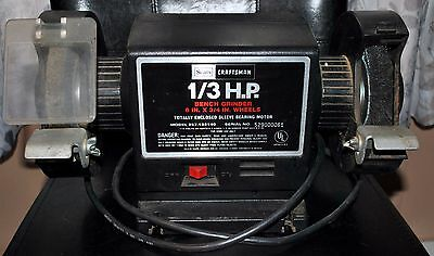 """Craftsman 1/3 HP 6""""x 3/4"""" Bench Grinder - Model 257.192140 Used Great Condition"""