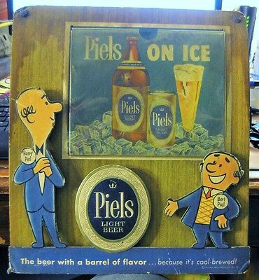 Vintage Burt & Harry Piels Beer Sign W/ Flat Top Beer Can & Bottle Brooklyn Ny