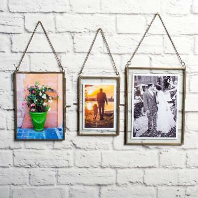 Antique Chain Brass Glass Hanging Floating Picture Photo Frame Portrait