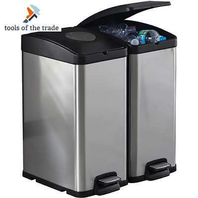 Kitchen Recycle Bin Stainless Steel Trash Can Recycling Garbage Sorter 30