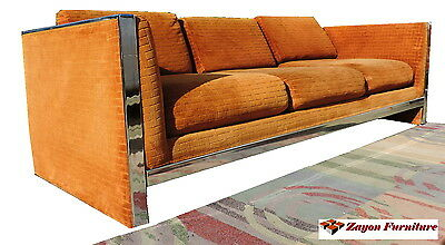 SOFA  MID CENTURY MODERN COUCH 1970 CHROME BY SELIG milo baughman style #1 of 2