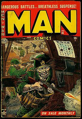 Man Comics #16 1952- Joe Maneely cover- Commies- War- Gyrenes G+