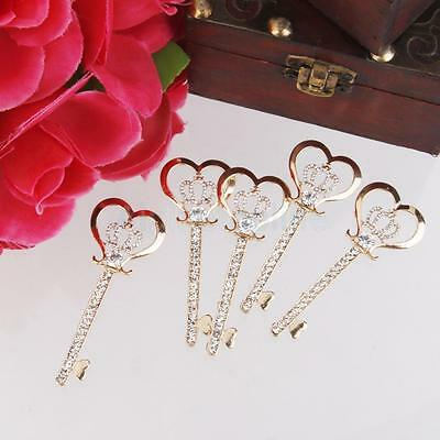 5 GOLD METAL CRYSTAL KEY for CARD MAKING SCRAPBOOKING CRAFTS EMBELLISHMENTS