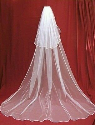 Bridal veil charming white. 2 tier cathedral wedding veil with comb. 3 metres