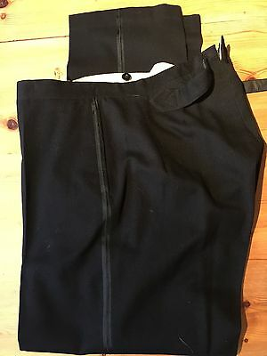 Mens Vintage 1920's Edwardian Flat Fronted Evening Dinner Trousers Size 36