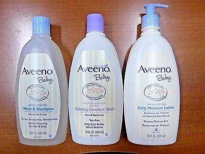Aveeno Baby Wash & Shampoo, Calming Comfort Bath & Daily Moisture Lotion Set